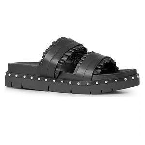 All Saints Alanna Ruffled Black Studded Sandals